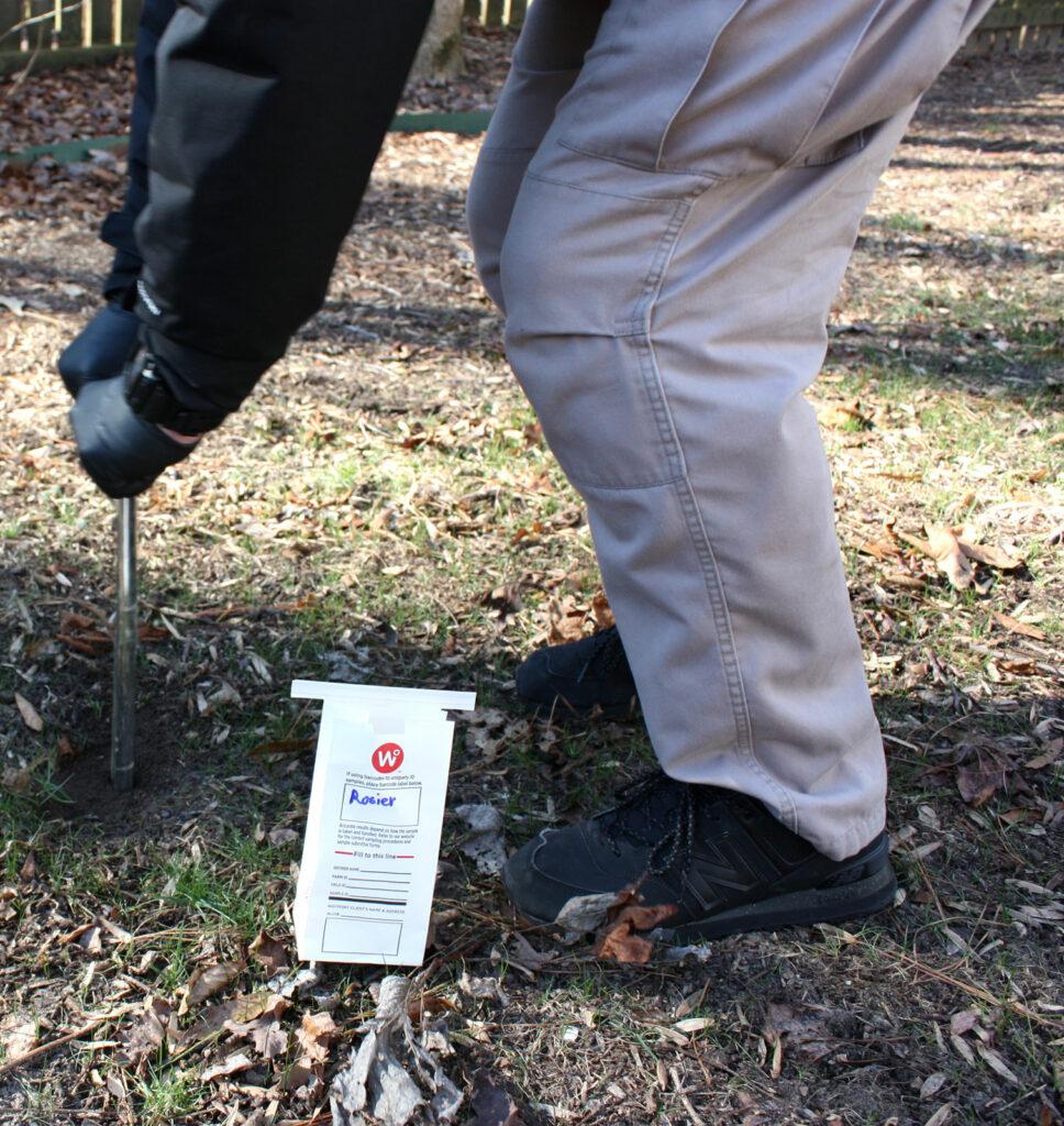 The Soil Sample is the first step in Prestigious Turf Managements lawn program - Yorktown VA