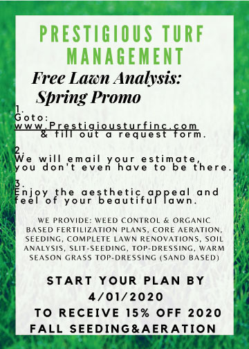 2020 Spring Flyer by Prestigious Turf Management of Yorktown VA